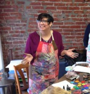Dina Wakley at Runaway Art and Craft Studio in 2015